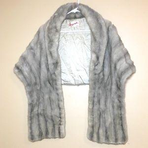 Vintage Fur grey cream colored shawl